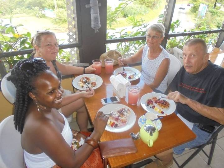 Group having waffles at Hilltop Coffee House