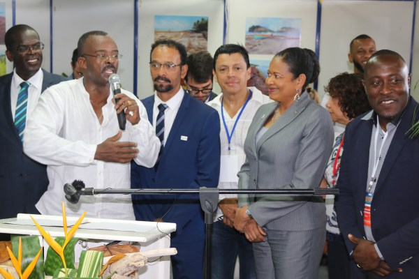 1st International Conference on Sargassum in Guadeloupe (Day 2). Opening of SARG'EXPO by the President of the Regional Council of Guadeloupe Ary Chalus along with international delegations. (OECS Photo)