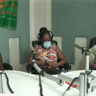 Ministry of Health Officials wear face masks during Friday morning's press briefing. (l to r) PS Camille Gerald, Epidemiologist Dr. Dorothea Hazel-Blake, Minister of Health Charles Kirnon (screenshot)