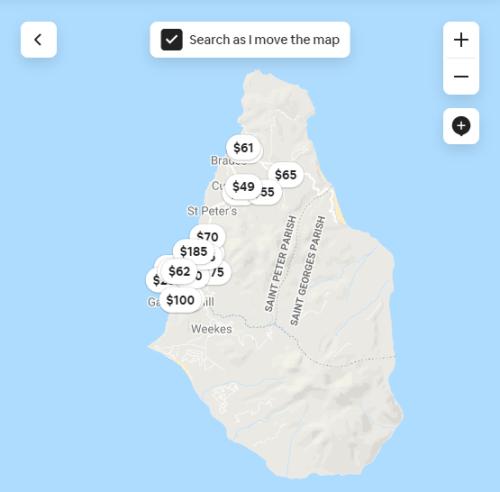 Screenshot of Airbnb map of Montserrat