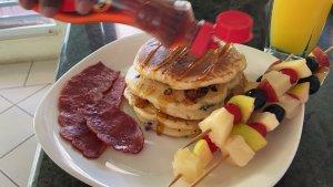 turkey bacon, pancake and fruit kebabs