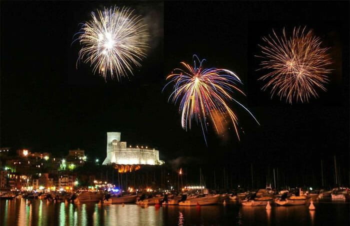 Fireworks during Sant'Erasmo Festival, Lerici, Liguria