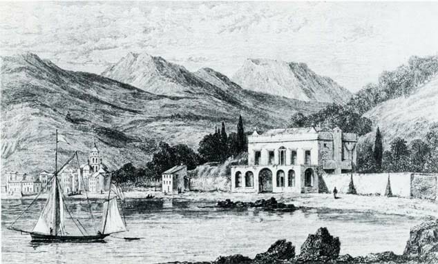 Villa Magni, Shelley's house near Lerici (Liguria), drawn by Daniel Roberts