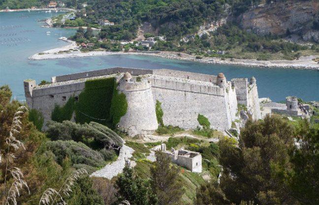 Doria Castle overlooking Palmaria Island across the channel of Portovenere