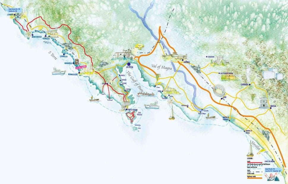 Map of Portovenere and surroundings
