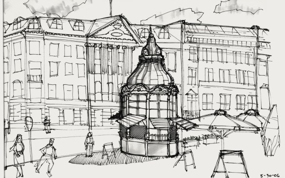 Sketch of Gammeltorv, taken from Ted's sketchbook