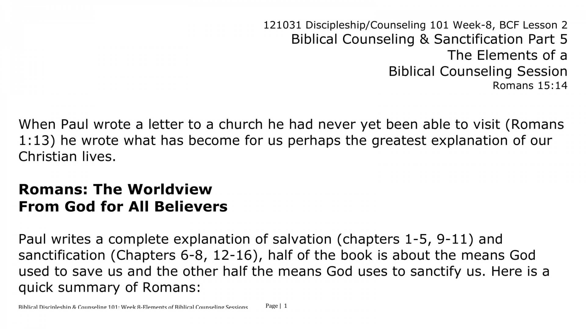 Lesson 2 - The Call From God To Be Disciple Making Biblical
