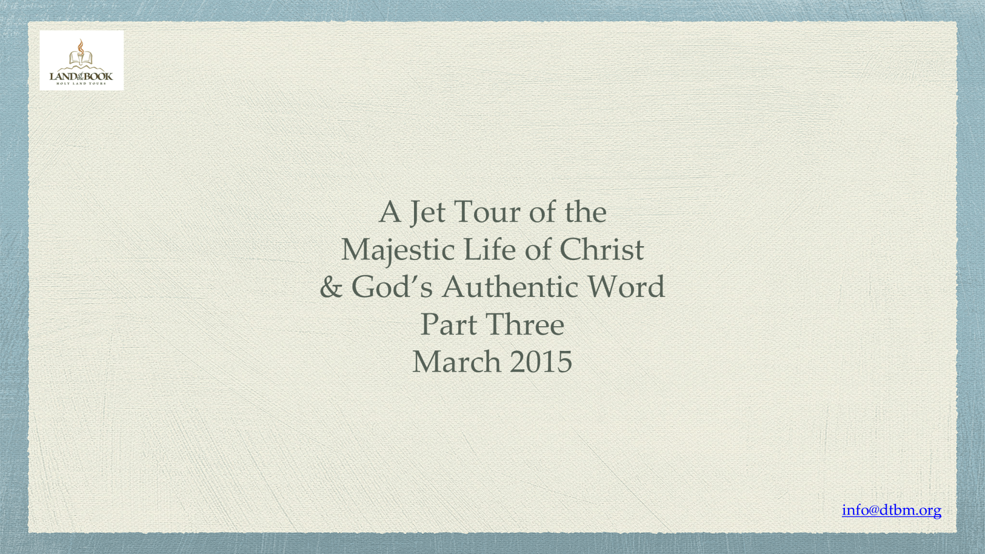 JET-03 - A Jet Tour Through Christ's Life in the Gospels (1)