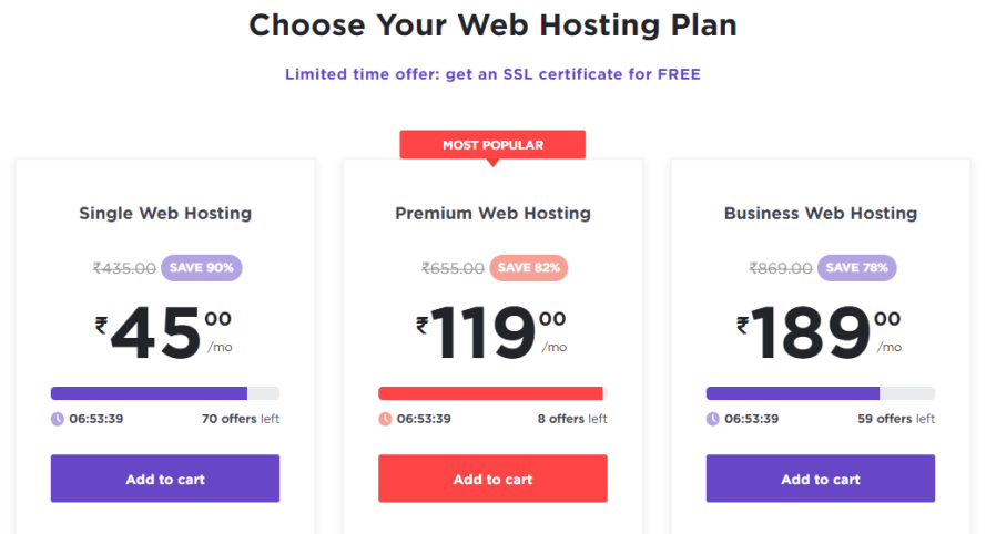Hostinger pricing plan