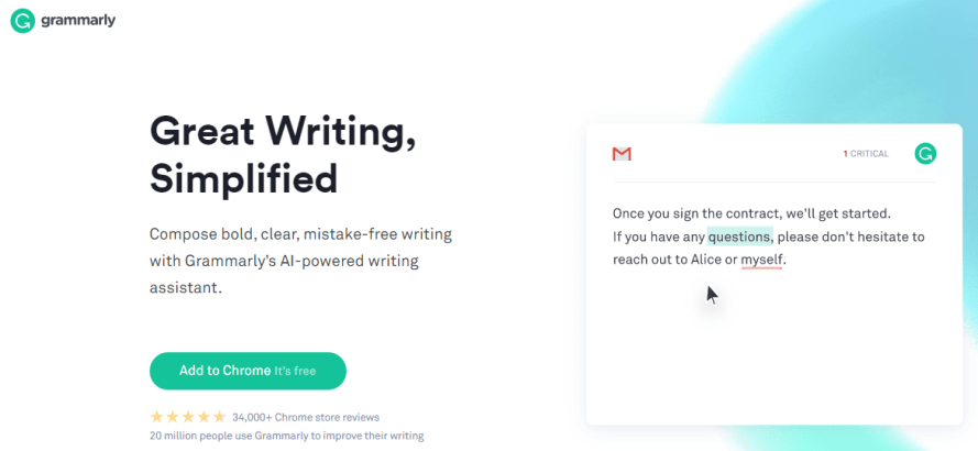 Grammarly - best english learning websites