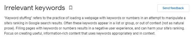 Google on Keyword Stuffing