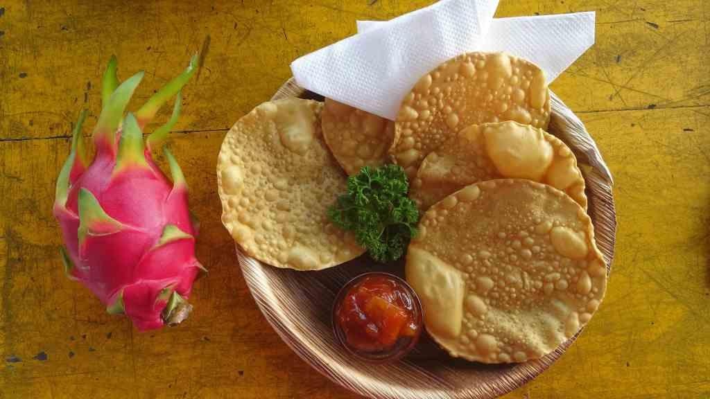 Food in Sri Lanka; mango chutney with poppadum's,