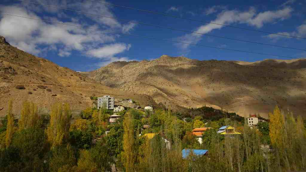 Chalus Road, colorful village along the way