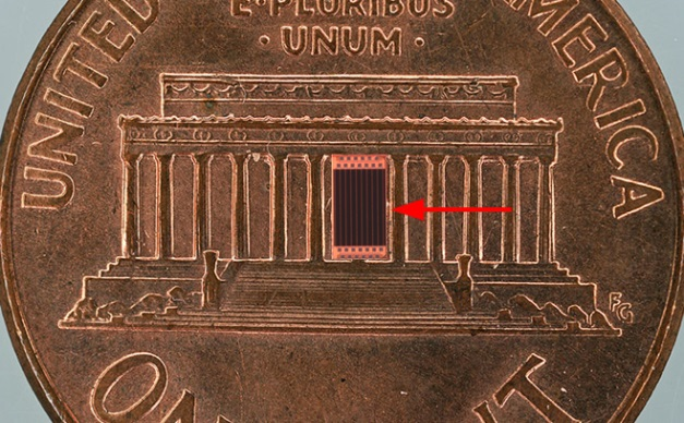 Lab on a chip is smaller than a penny.