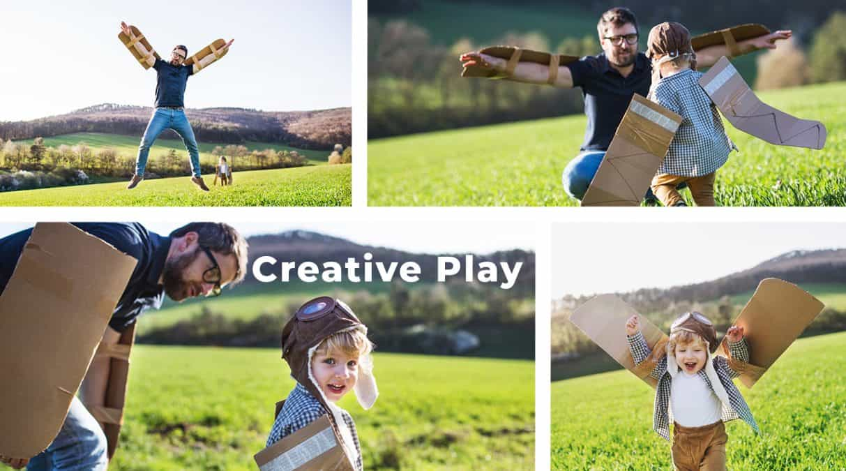 importance of creativity-creative skills-creative play- father and son engaged in imaginative play as airplanes and pilots