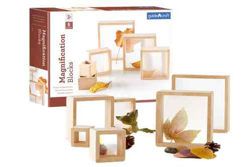wooden square blocks with magnification window insets