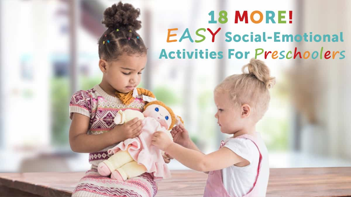 social emotional activities for preschoolers-two young girls caring for a doll