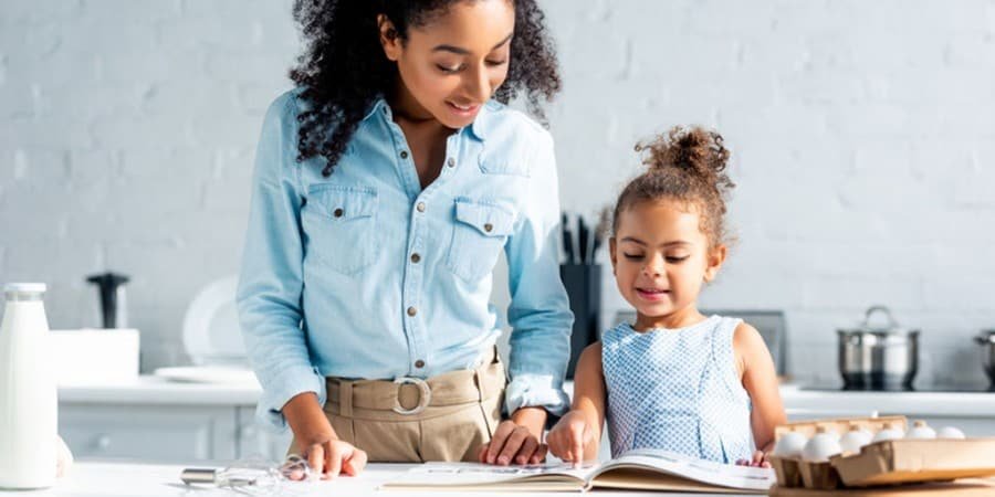 expressive language activities-cooking-mother asn daughter are kitchen reviewing the cookbook