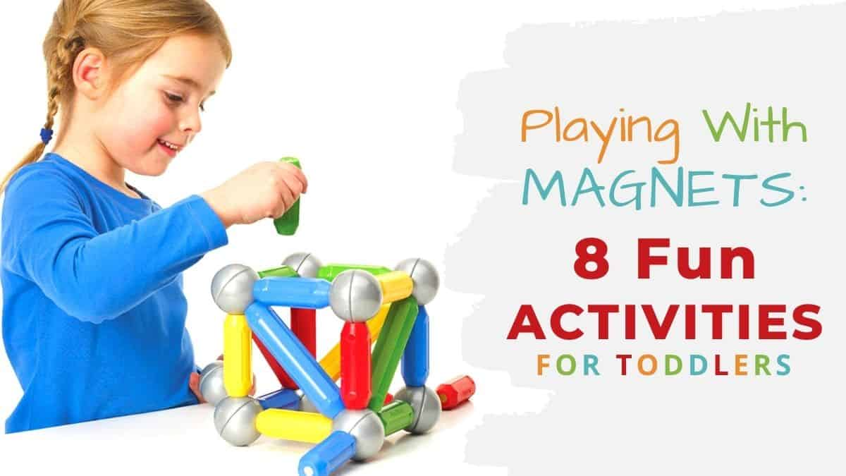 playing with magnets-fun activities for toddlers-girl playing with smartmax magnetic building toys