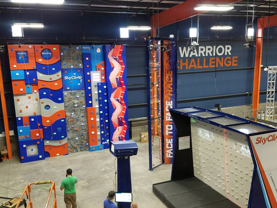 Indoor rock climbing wall setup