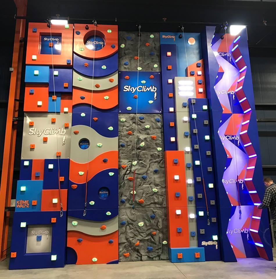 An indoor rock climbing wall range