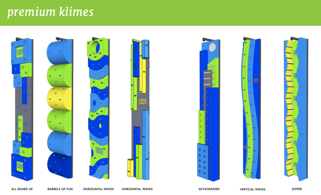 klime climbing wall designs bright and fun