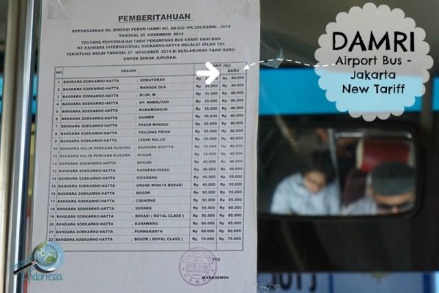DAMRI Jakarta new tariff