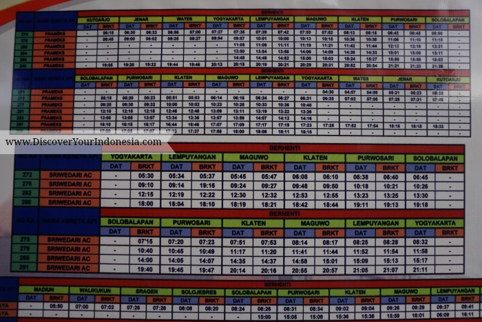 Train schedule from Maguwo 2015