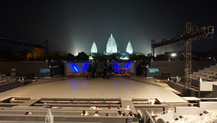 beautiful setting open air stage prambanan