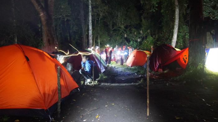 camping in tambora volcano
