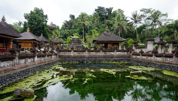 The source of the holy spring at Tirta Empul temple. The spring is located in the inner courtyard.