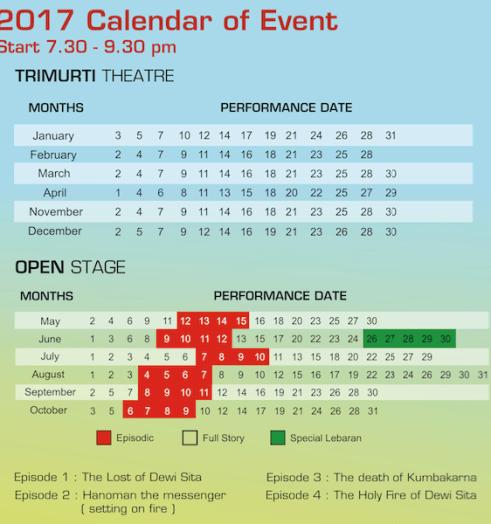 Ramayana Ballet Prambanan 2017 schedule