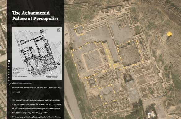 screenshot of a story map of Persepolis