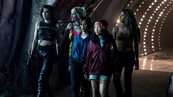 Huntress, Harley Quinn, Renee Montoya, Cassandra Cain, and Dinah Lance as played by Mary Elizabeth Winstead, Margot Robbie, Rosie Perez, Ella Jay Basco, and Jurnee Smollett in Birds of Prey