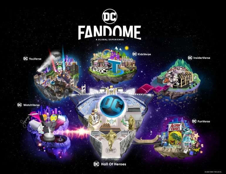 Os cinco mundos do Dc FanDome e o Hall of Heroes.
