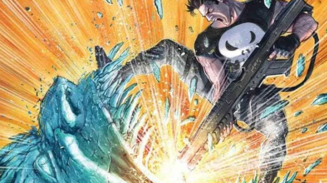 The Punisher shooting a gun into the mouth of an ice monster as seen in Marvel Comics.