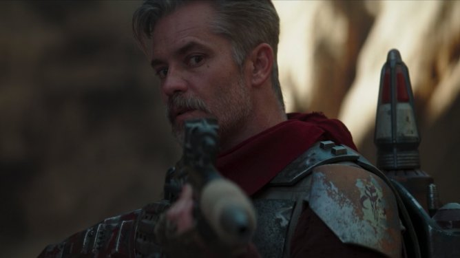 Timothy Olyphant sports Boba Fett's armor in Chapter 9 of The Mandalorian.