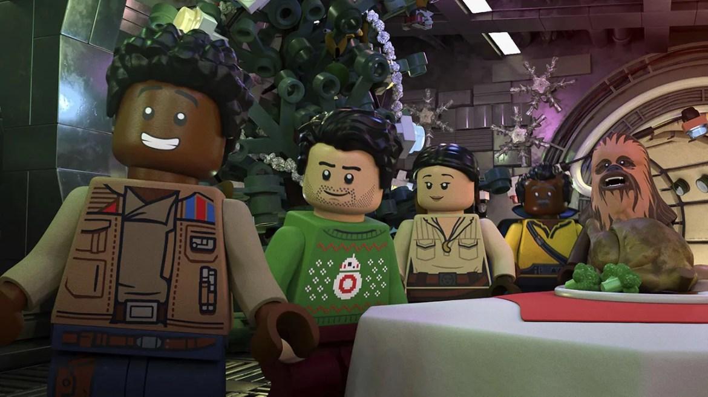 LEGO versions of Finn, Poe, Rose, Lando and Chewbacca inside the Millennium Falcon.