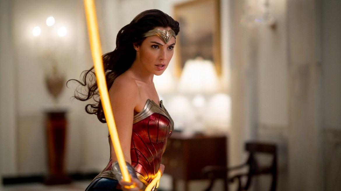 Gal Gadot as Wonder Woman holds her golden lasso as seen in Wonder Woman 1984 coming soon to HBO Max.
