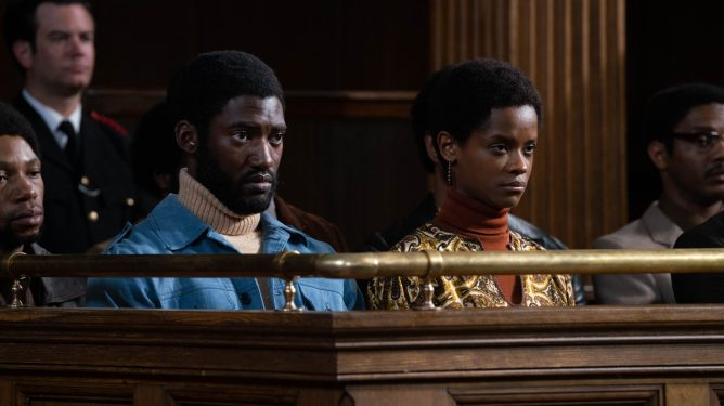Malachi Kirby and Letitia Wright stand trial in Mangrove from Steve McQueen's Small Axe anthology.