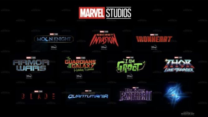 A graphic showing the second half of the MCU's Phase 4 Slate, including Moon Knight, Fantastic Four, Blade, and all the new shows coming to Disney+.