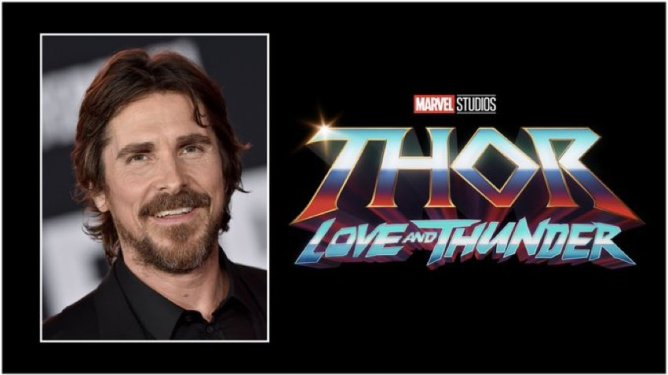 A graphic that announces Christian Bale joining the MCU as Gorr the God Butcher in Taika Waititi's Thor: Love and Thunder.