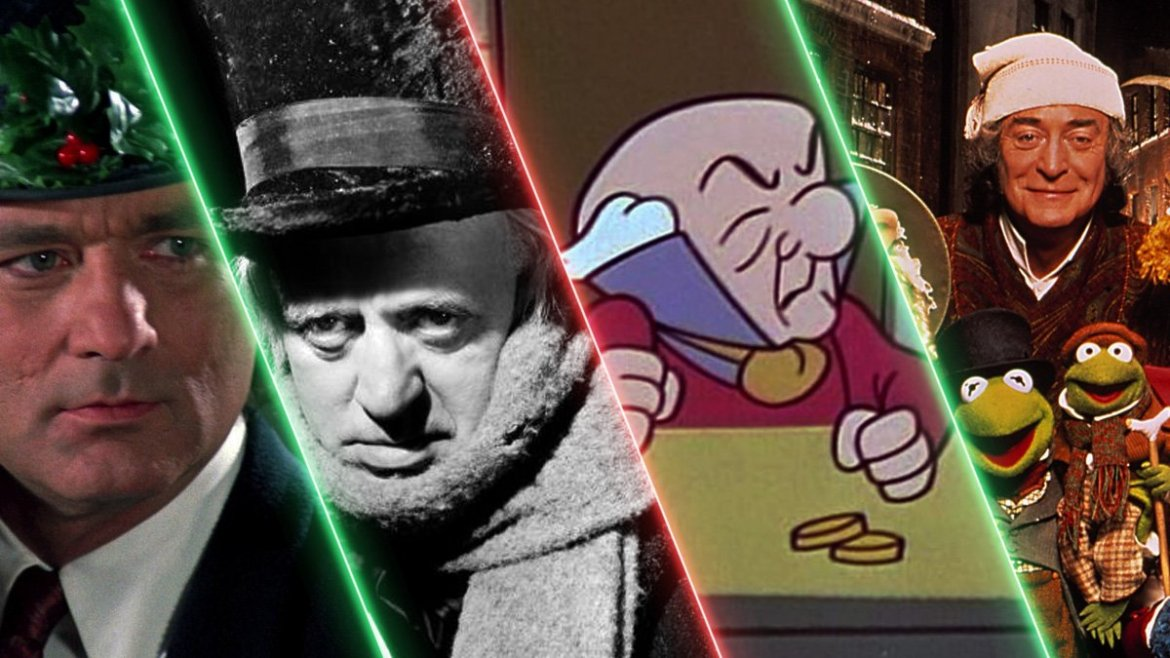 A collage of the different versions of Scrooge from A Christmas Carol throughout film history.