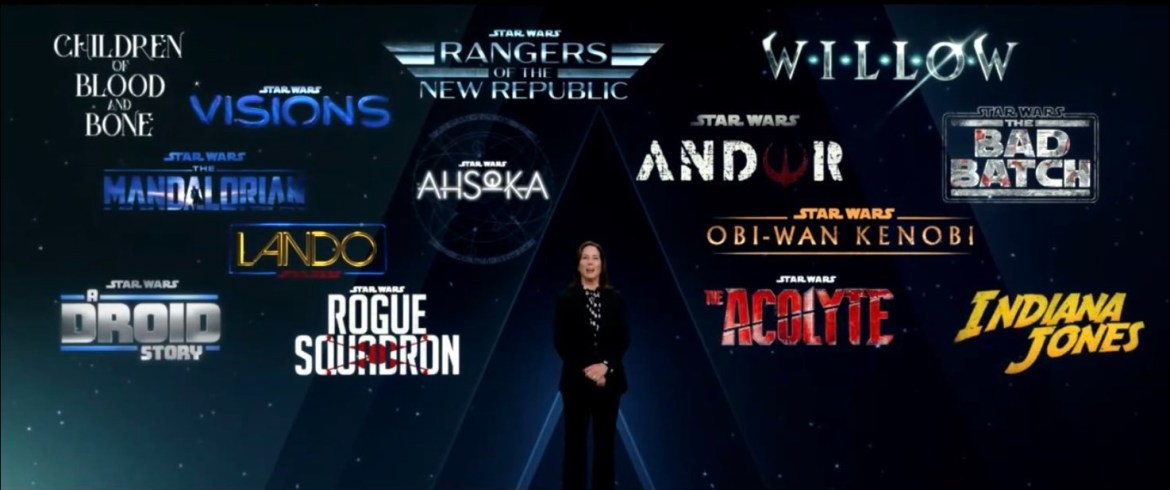 Studio President Kathleen Kennedy in front of the new Lucasfilm slate at Disney's 2020 Investor Day.
