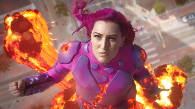 Taylor Dooley returns as Lavagirl as she shoots up into the sky as seen in We Can Be Heroes on Netflix.