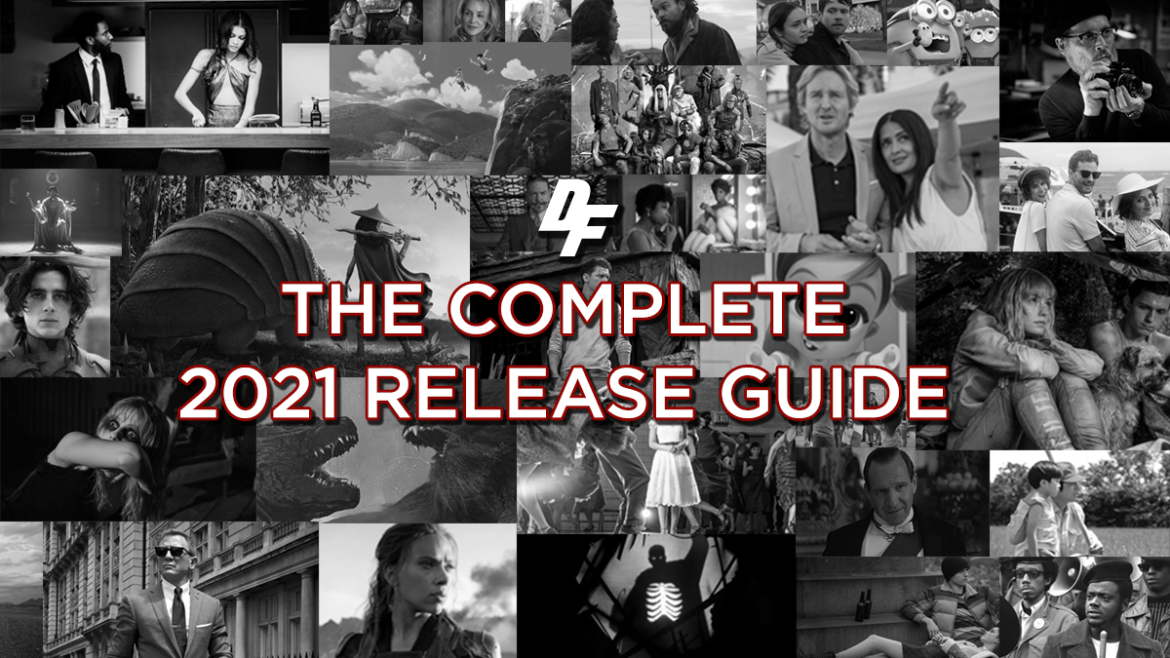 A black-and-white collage of many blockbuster and indie films with 2021 release dates.