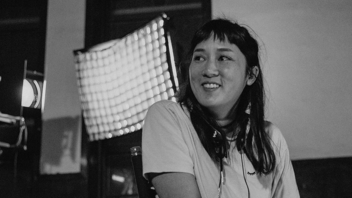 Director Kate Tsang on the set of Marvelous and the Black Hole, an official Sundance 2021 selection.