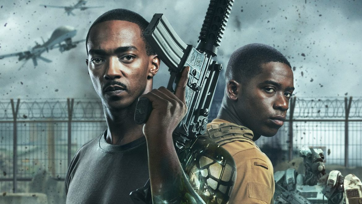 Anthony Mackie and Damson Idris holding weapons on the post-apocalyptic poster for Outside the Wire.