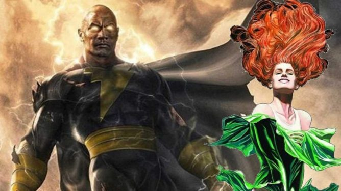 A graphic of The Rock as Black Adam next to the DC heroine Cyclone, soon to be seen in the live-action film.