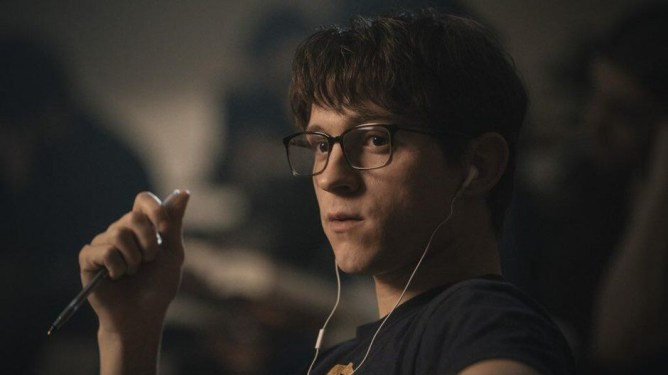 Tom Holland as seen in Cherry, a 2021 predicted Oscar hopeful from Apple.
